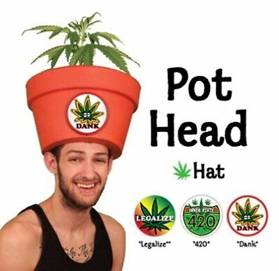 Men's Costume Party Ideas - Halloweed Pot Head Hat Combo w Fake Plant   - Costume Party Costume Ideas