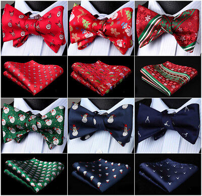 (Novelty Christmas Mens Bowtie 100% Silk Butterfly Self Bow Tie Pocket Square Set)
