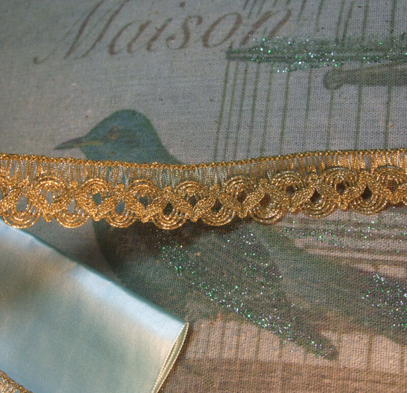 Rare Find Vintage Gold Metallic Mesh Ribbon Wide  French