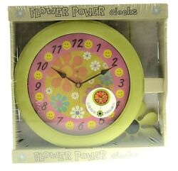 Flower Power Pendulum Wall Clock Happy Face Daisy Green Pink NIP New