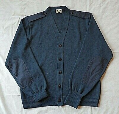 USAF Military Air Force Elbow Patch Cardigan Sweater Made in Great Britain