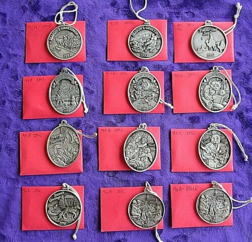 """METAL (CHRISTMAS) ORNAMENTS: LOT 12 PEWTER SOME MARKED """"INDIANA METAL CRAFT"""" 29"""