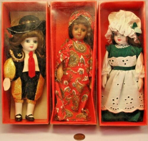 "Lot of 3 Doll Ornaments 7"" Porcelain"