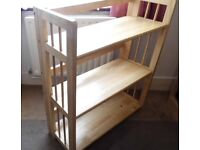 Shelf Bookcase 3 Tier Solid Wood, (can be folded flat for easy storage)
