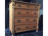 Antique 4 drawer chest. Vintage/Shabby Chic
