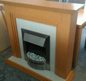Beech Fireplace With Marble Hearth and Electric Fire - Modern Home Furniture