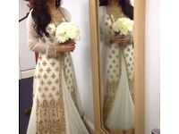 Indian/Pakistani White & Gold Antique Bridal Registry/Wedding Gown