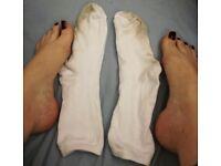 Trashed Socks White Nylon Cotton Used Women's Socks