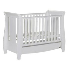 TUTTI BAMBINI KatCot Bed With Under Bed Drawer & Sprung Mattress & with changing table (White)