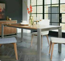 Dwell Nox Extending Dining Table in Walnut and Brushed Steel (New and boxed)
