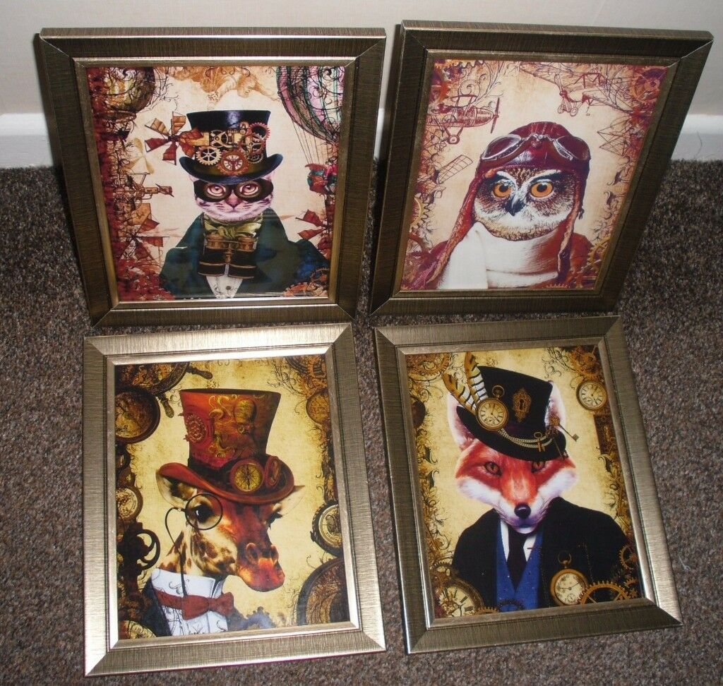 4 PICTURES, 10 INCH X 12 INCH ANIMAL PRINTS IN BRONZE GLASS FRAMES,BRAND NEW
