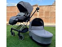 Cybex Mios 2019 - Soho Grey buggy frame, seat pack, footmuff & luxe infant carrycot