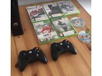 Xbox 360 2 controllers 7 games inc GTA Call of Duty FIFA **Great Present**