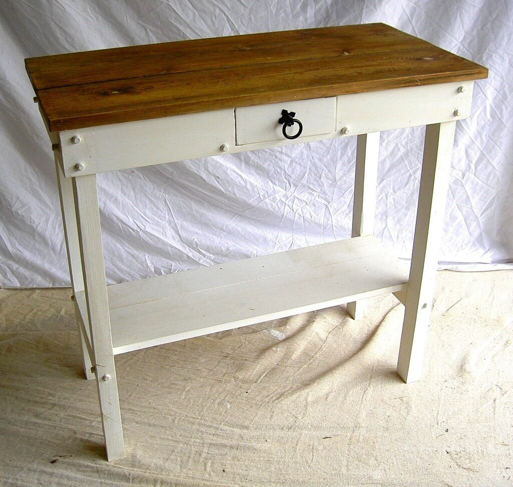 Cream Hall Table dining / living / shabby chic solid antique pine cream hall