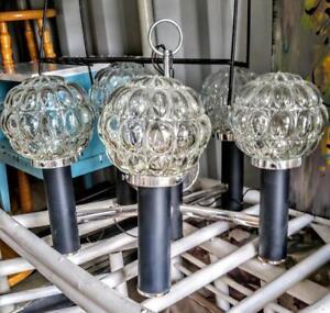 Oakville Retro Decor Hanging Lamp Bubble Glass and Metal Vintage Light 1960s black silver