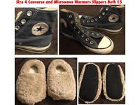 Converse All Star Trainers and Microwavable Warmies® Beige Slippers Shoes Bundle Job Lot Clearance