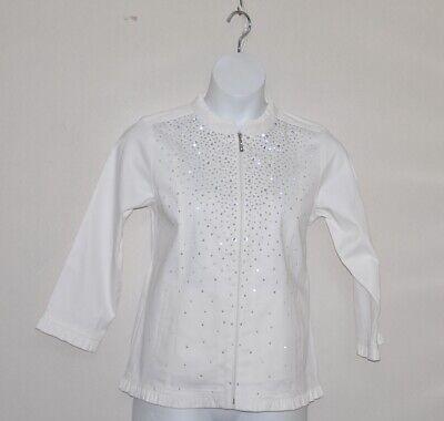 Quacker Factory Sparkle & Shine Stretch Twill Jacket W/Ruffle Size 1X White