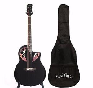 Christmas Sale ! Round Back Acoustic Guitar 41 inch Full Size Black iMusic632