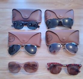 Designer sunglasses, original Ray-Ban and case, various sizes