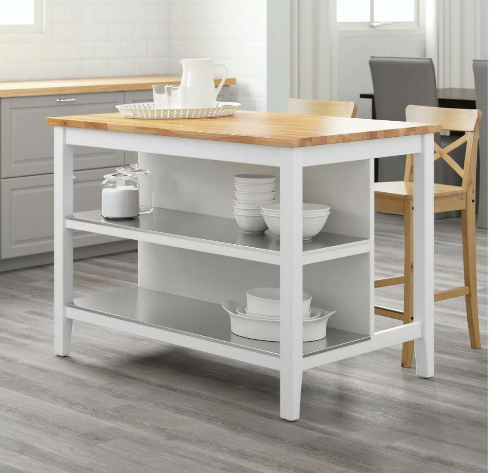 Used IKEA STENSTORP Kitchen Island (White & Solid Oak) and ...