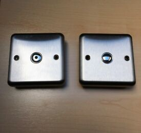 Varilight 1-gang 1-way remote touch dimmer wall light switches x2 satin stainless steel