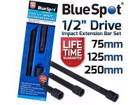 """NEW - 1/2"""" IMPACT Extension Bars 3pc Long Reach Extension bar Set 1/2Inch Drive"""
