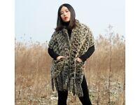 DAYMISFURRY-- Knit Rex Rabbit Fur Shawl With Fringes
