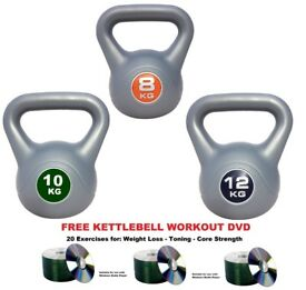 Kettlebell Set 8-10-12kg Fitness Weights Vinyl Kettlebells: Free Workout DVD