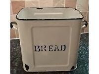 Vintage White and Blue Enamel Bread Bin