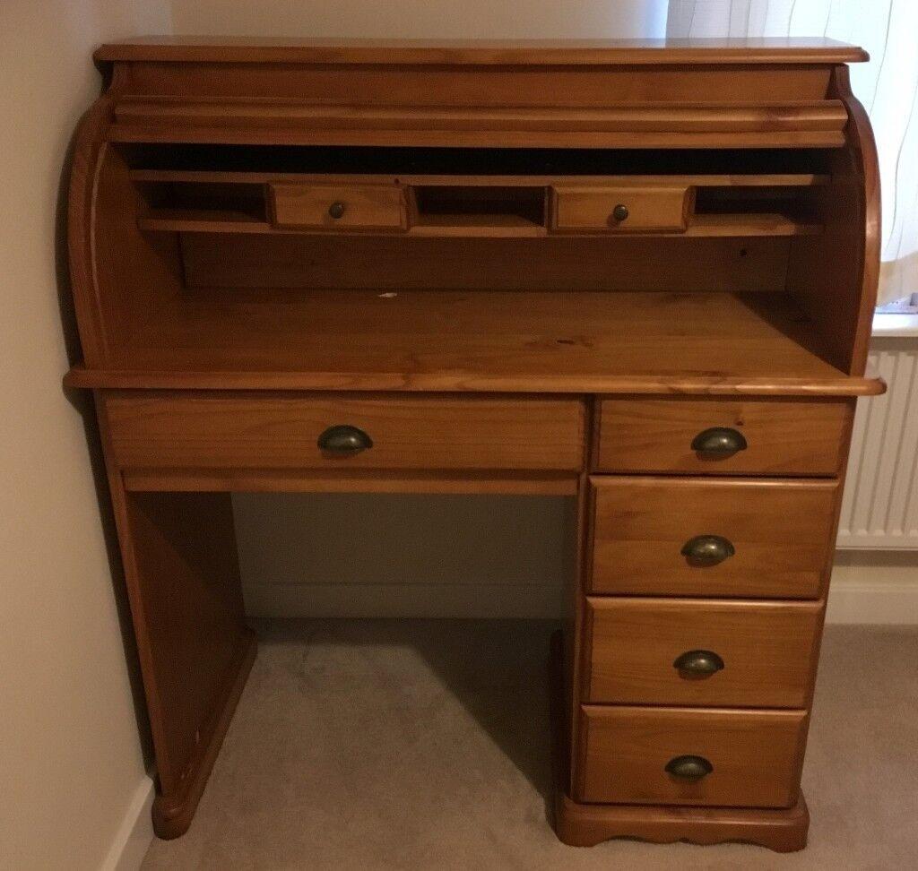 roll top desk bureau solid wood in peterborough cambridgeshire gumtree. Black Bedroom Furniture Sets. Home Design Ideas