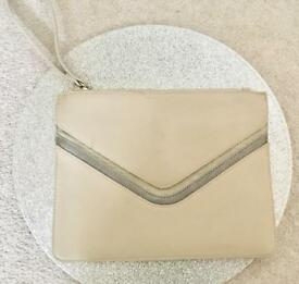 WAREHOUSE Faux Leather Cream Envelope Clutch