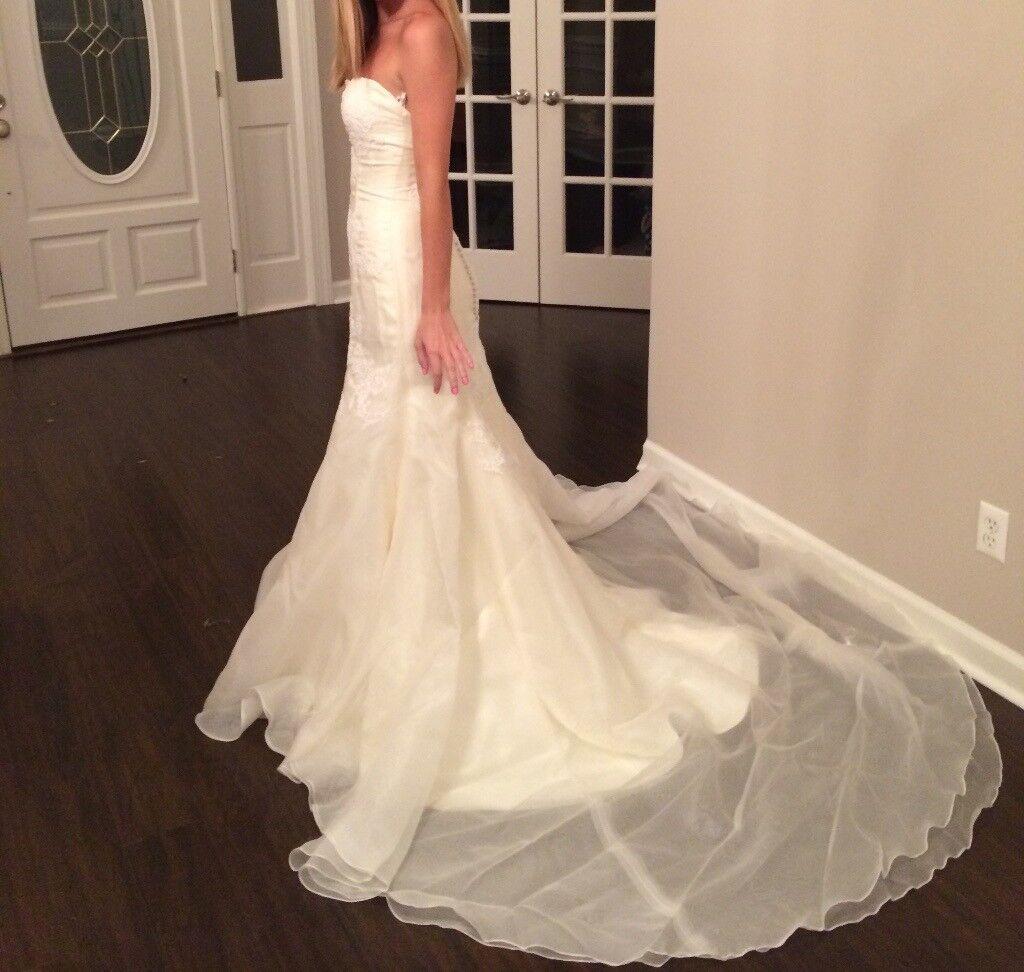 Marissa 737 Designer Ivory Silk Organza Lace Wedding Dress US Small (0-4)
