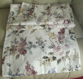 """Pair long CURTAINS, cream pretty delicate floral design, 23"""" wide x 83"""" long/drop, self lined, vgc"""