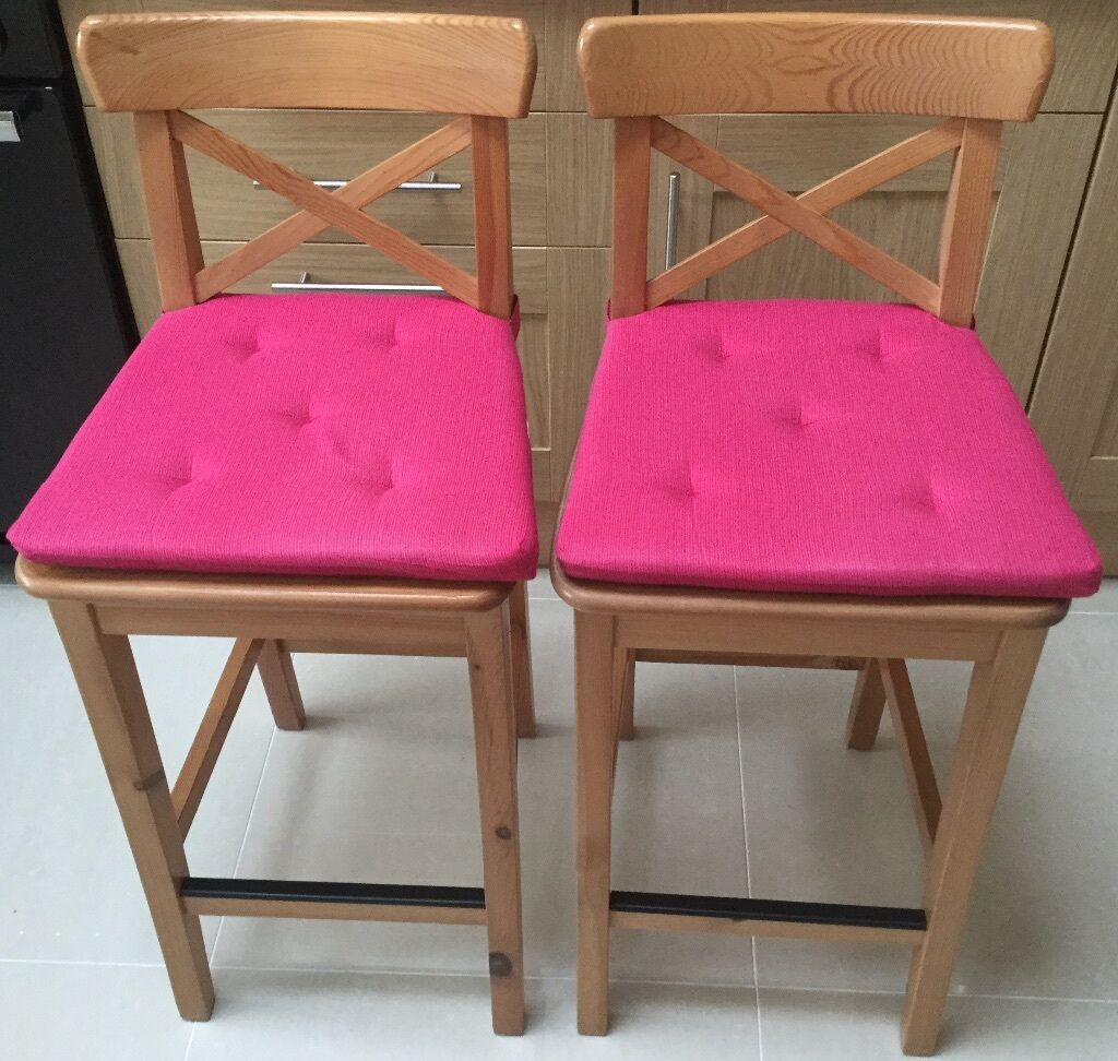 2 wooden Ikea Ingolf bar stools and 4 cushion pads | in St Albans ...
