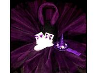 6-12m. Witch Halloween Tutu and accessories