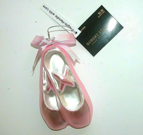 NEW NWT Christmas Ornament Pink Ballet Slippers Glass Robert Stanley
