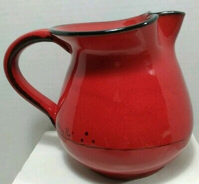 """Vintage Mamma Ro Pottery Red Pitcher 5 1/2"""" Tall Made in Italy"""