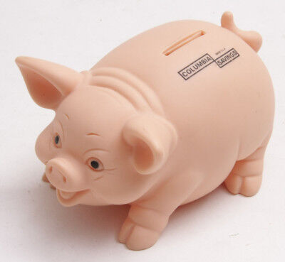 Columbia Savings Piggy Bank Plastic Pig   Alliance Plastic   5  Long Used C11c