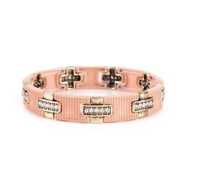 Plunder Ashley Marilyn Bracelet Peachy Pink w/ Gold & Clear Crystals 7