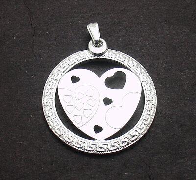 Greek Key Design Bezel Cut Out Heart Pendant Real Solid 925 Sterling Silver Cut Out Heart Design