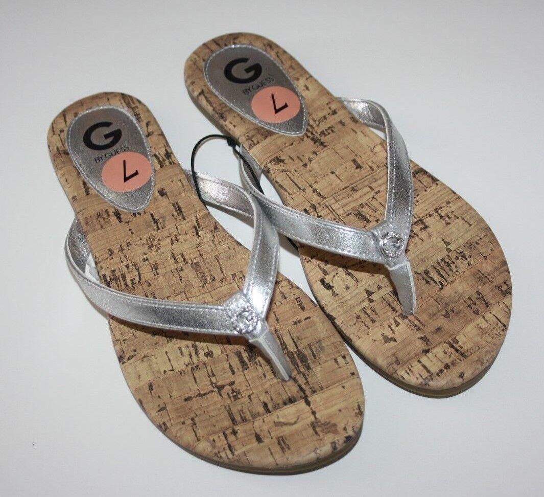Womens G by Guess Britt Flip Flops Sandals Silver Black New