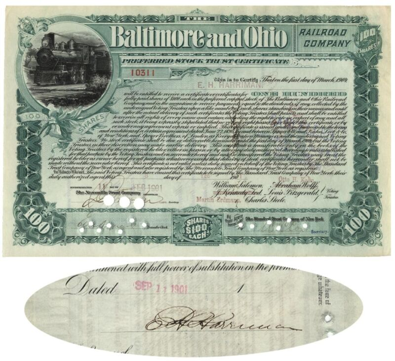 Baltimore & Ohio Rail Road Company Issued To And Signed By Edward H. Harriman