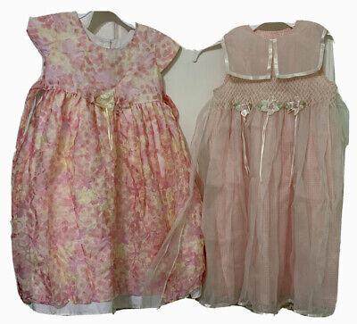 Girls Lot of 2 Size 5 Summer Dressy Dresses Pink Flowers Tieback Sleeveless U41