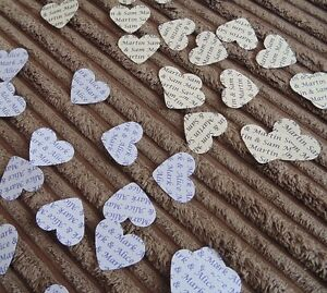 150 Personalised Wedding Heart Confetti - Table Favours Party Bride Groom Names