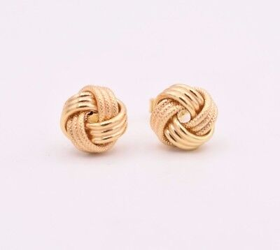 Italian Love Knot Rosetta Textured Stud Earrings Solid 14K All Yellow Gold 9mm