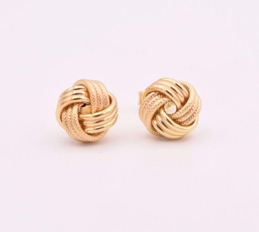 Technibond Diamond Cut Rosetta Stud Earrings 14K Rose Pink Gold Clad Silver