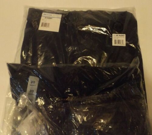 Sz 20H Lot of 2 Navy Blue Husky French Toast Pants Relaxed Fit Elastic Waist