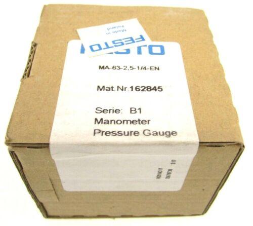 New Sealed FESTO MA-63-2,5-1/4-EN /B1 Manometer Pressure Gauge 162845