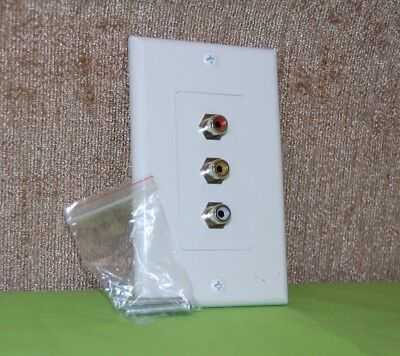 Composite Video Rca Jack - Standard 3 RCA Jack Wall Plate Composite Stereo Audio Video White w/ Screws