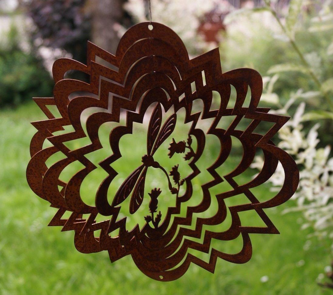 Edelrost Windspiel Libelle D22 cm in welliger Form Gartendekoration